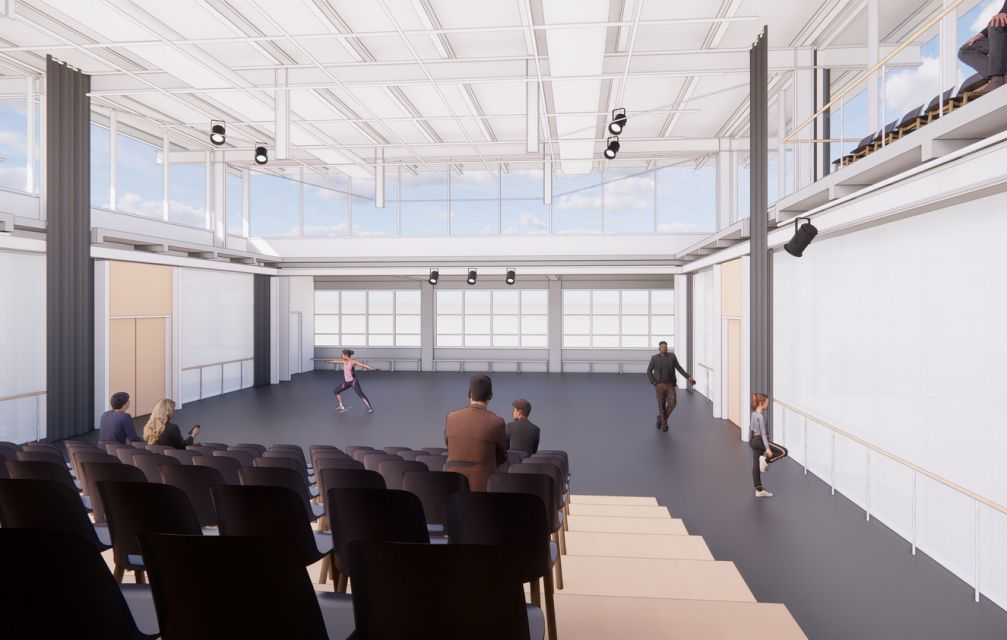 An adaptive re-use of a former Pittsburgh warehouse, the Metamorphosis Center will bring together performance art, entrepreneurship, and education under one roof. Rendering © Bohlin Cywinski Jackson